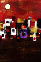 Navaho, Abstract Of Navaho Village And Sun
