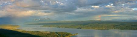 Panoramic Of An Approaching Storm And With A Rainb