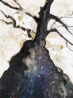 Abstract Watercolor Painting Of A Tree And Its Bra