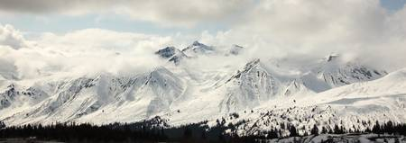 Panoramic View Of Snow-Covered St. Elias Mountains