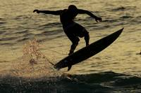 Hawaii, Big Island, Kona, Surfer At Sunset
