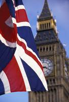 Union Flag And Big Ben, Houses of Parliament, Lond