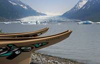 Modern replicas of two Tlingit war canoes in front
