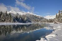 Scenic winter landscape of Mendenhall River, Mende