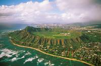 Hawaii, Oahu, Aerial Of Diamond Head Crater With C