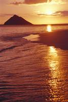 Hawaii, Oahu, Lanikai Beach, Golden Sunrise Sky An