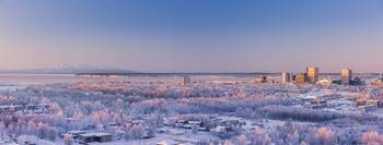 Aerial View Of Downtown Anchorage At Sunset, Hoarf