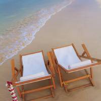"""Hawaii, Oahu, Kailua, Two Lounge Chairs On The Whi"" by DesignPics"