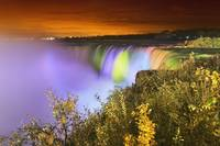 Horseshoe falls lit up at night, Niagara falls ont