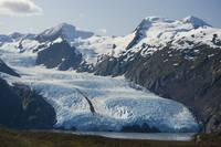 Scenic view of Portage Glacier and Portage Lake