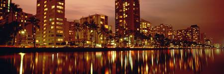 Hawaii, Oahu, Waikiki At Dusk, Glow Of City Lights