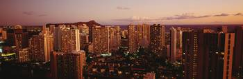 Hawaii, Oahu, Waikiki, Evening Glow On City Buildi