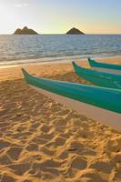 Hawaii, Oahu, Outrigger Canoes On Lanikai Beach At