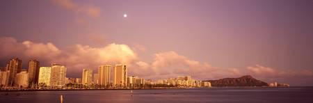 Hawaii, Oahu, Waikiki And Diamond Head At Twilight