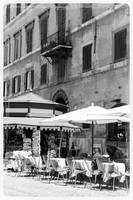 Sunny Italian Cafe - Black and White by Carol Groenen