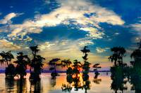 Cypress Swamp Landscape Sunset Reflection Bayou