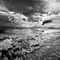 """""""Black and White Photo-Sea Waves Crashing on Shore"""" by eszra"""