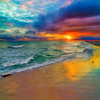 Colorful Seascape-Swirling Multi Color Sunset Art