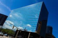 Blue reflective office building in Grand Rapids MI