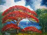 Red Royal Poinciana Tree and Sailboat by Mazz Original Paintings