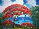 Blooming Royal Poinciana Tree and Sailboat by Mazz Original Paintings