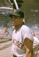 Willie Mays Leans Against the Batting Cage