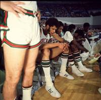 Kareem Abdul Jabbar resting on bench