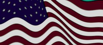 Burgundy Grey Violet 50 Star American Flag Flying