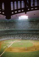 Looking down on a game in old Yankee Stadium