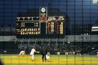 Pitching to a hitter in old Yankee Stadium