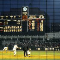 """Pitching to a hitter in old Yankee Stadium"" by RetroImagesArchive"
