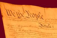 US Constitution Closeup Violet Red Background