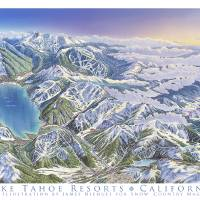 """Tahoe Resorts California"" by jamesniehuesmaps"