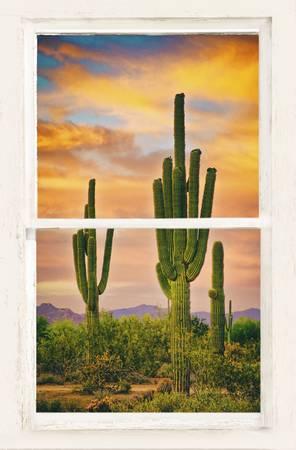 Southwest Desert Sunset White Rustic Window Art