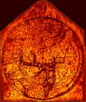 Hereford Mappa Mundi 1300 Enhanced Darkest Red Cor