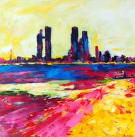 Heat Wave - Abu Dhabi Abstract Cityscape Painting