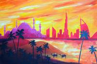 Abu Dhabi Sunset - Abstract Landscape Painting