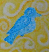 bluebird on yellow