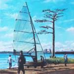 Sailing boat preparation at Weston Shore Southampt Prints & Posters