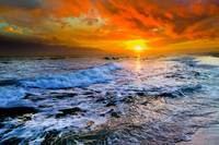 Colorful Seascape Dark Red Sunset and Waves Prints