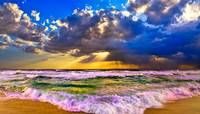 Stormy Sea at Sunset Panorama-Sun Rays Art Prints