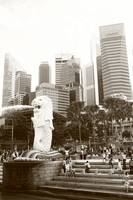 city in monochrome, merlion and City,  Singapore
