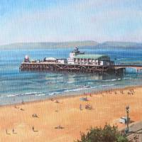 Bournemouth Pier summer morning from cliff top Art Prints & Posters by Martin Davey