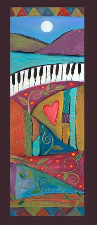 Lyrical Colors PANELS-Dancing piano with heart-Kar