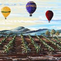 """""Misty Morning"" Hot Air Balloons Wine Vineyard"" by ChristineBell"