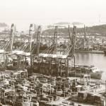 """Industrial, urban landscape Singapore  monochrome"" by sghomedeco"