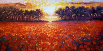 oil-painting-of-sunset-over-poppy-field painting b