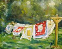 Vintage Linens out to Dry