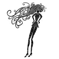 Long hair woman silhouette