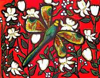 Dragonfly On Red With White Flowers